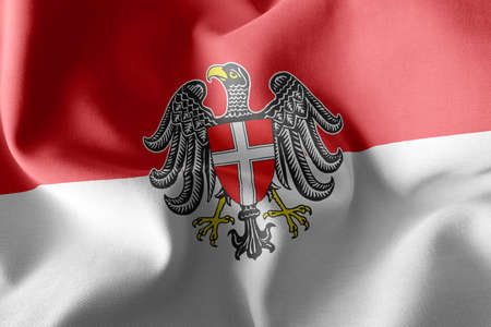 3D illustration flag of Vienna is a region of Austria. Waving on the wind flag textile background