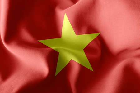 3D illustration flag of Vietnam. Waving on the wind flag textile background