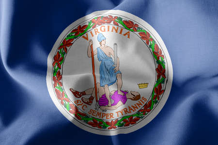 3D illustration flag of Virginia is a region of United States. Waving on the wind flag textile background 版權商用圖片