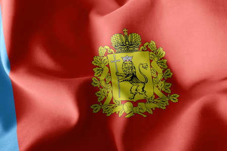 3D illustration flag of Vladimir Oblast is a region of Russia. Waving on the wind flag textile background