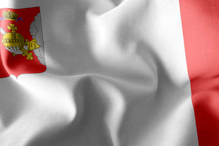 3D illustration flag of Vologda Oblast is a region of Russia. Waving on the wind flag textile background 版權商用圖片