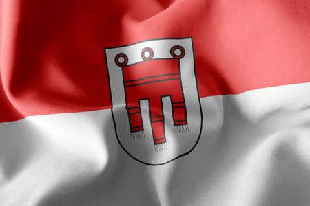 3D illustration flag of Vorarlberg is a region of Austria. Waving on the wind flag textile background