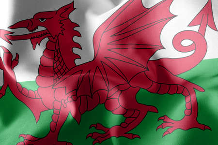3D illustration flag of Wales is a region of United Kingdom. Waving on the wind flag textile background