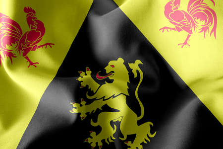 3D illustration flag of Walloon Brabant is a province of Belgium. Waving on the wind flag textile background