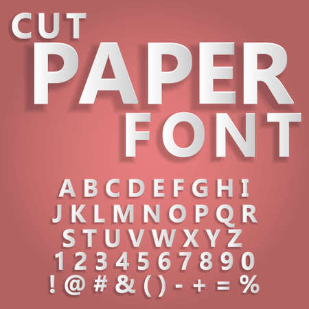 Floating cut paper letters and numbers of the alphabet on a light background, paper art style Template for your design