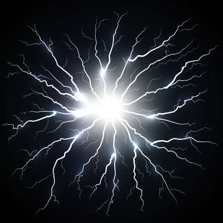 Electric flash of lightning isolated Template for your design