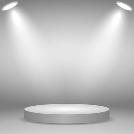 Round podium, pedestal or platform illuminated by spotlights on white background. Stage with scenic lights Template for your design
