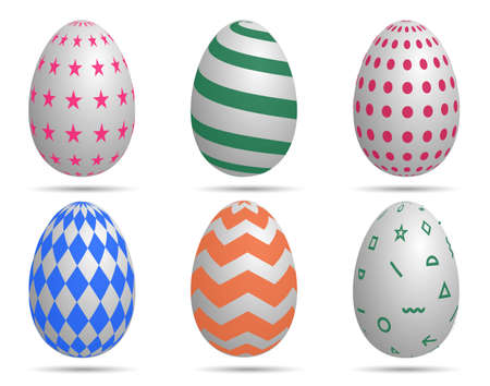 Happy Easter. Set of Easter eggs with different texture on a white background Template for your design Vector Illustration