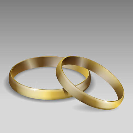 pair of wedding rings. Gold. Realistic 3D vector illustration. Template for your design