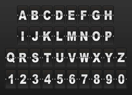 Airport Mechanical Flip Board Panel Font - White Font on Dark Background Template for your design