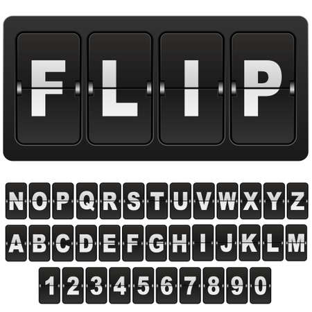 Flip countdown digital calendar clock numbers and letters. vector alphabet, font, airport board arrival symbols. Template for your design