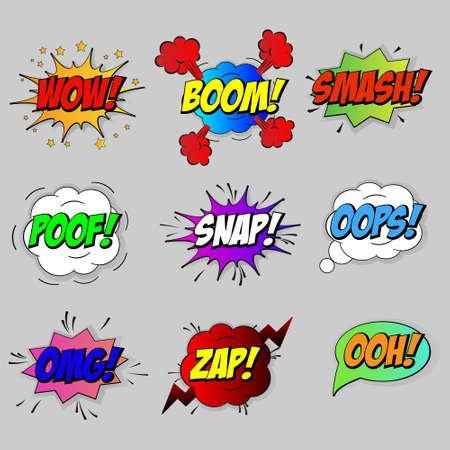Comic sound speech effect bubbles set isolated on white background vector illustration. Wow, pow, bang, crash, boom, ooh, smash, snap, poof lettering. Template for your design Vectores
