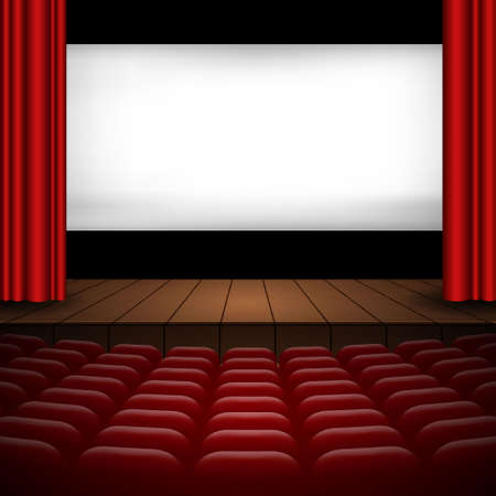 illustration of the interior of a cinema movie theater with red curtains, rows of seats, wooden scene Template for your design Vettoriali