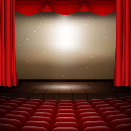 illustration of the interior of a cinema movie theater with red curtains, rows of seats, wooden scene Template for your design