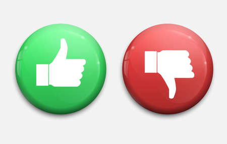 Thump Up and Thump Down Hands - vector illustration, green and red buttons Template for your design Vetores