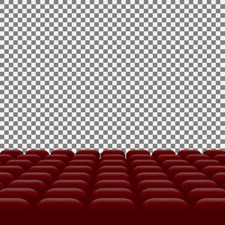 Rows of red cinema movie theater seats on transparent background, vector illustration Template for your design
