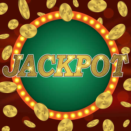 Jackpot gambling retro banner sign decoration. billboard for casino. Winner lucky symbol sign template with coins, money. Template for your design Vectores