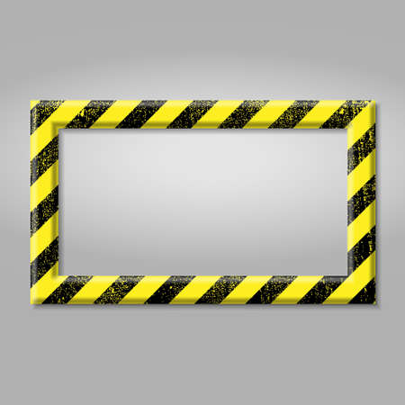 Frame with line yellow and black color. Caution sign. The hazard warning for text Template for your design Vektoros illusztráció