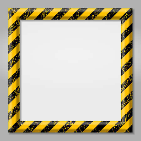 Frame with line yellow and black color. Caution sign. The hazard warning for text Template for your design