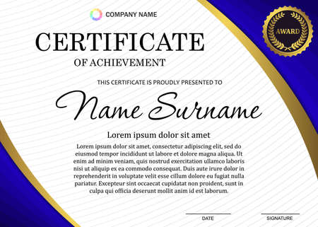certificate or diploma template with luxury pattern, and award symbol, Vector illustration Template for your design Vectores