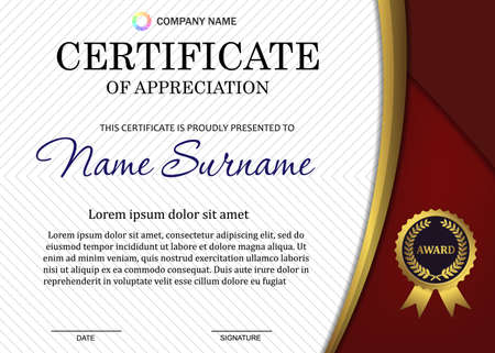 certificate or diploma template with luxury pattern, and award symbol, Vector illustration Template for your design