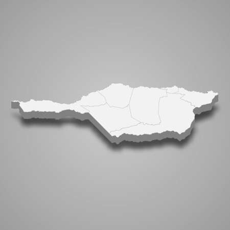 3d isometric map of Apure is a state of Venezuela, vector illustration