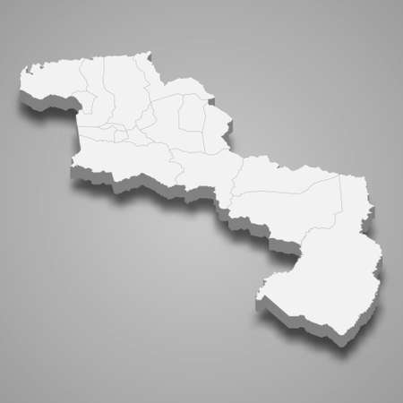 3d isometric map of Aragua is a state of Venezuela, vector illustration