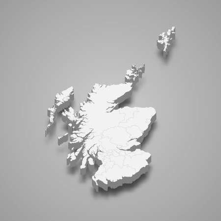 3d isometric map of Scotland, isolated with shadow vector illustration