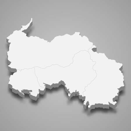 3d isometric map of South Ossetia, isolated with shadow vector illustration