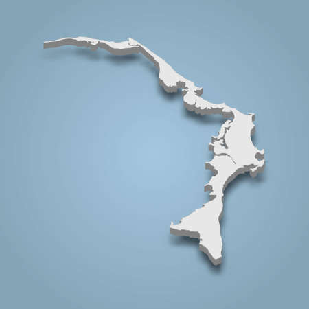 3d isometric map of Abaco is an island in Bahamas, isolated vector illustration