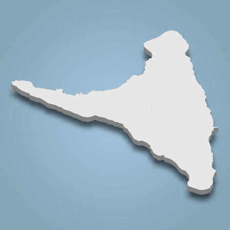 3d isometric map of Anjouan is an island in Comoros, isolated vector illustration Vectores