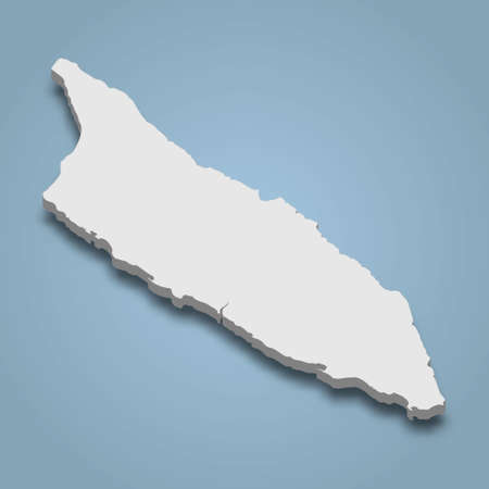 3d isometric map of Aruba is an island in Caribbean, isolated vector illustration Vectores