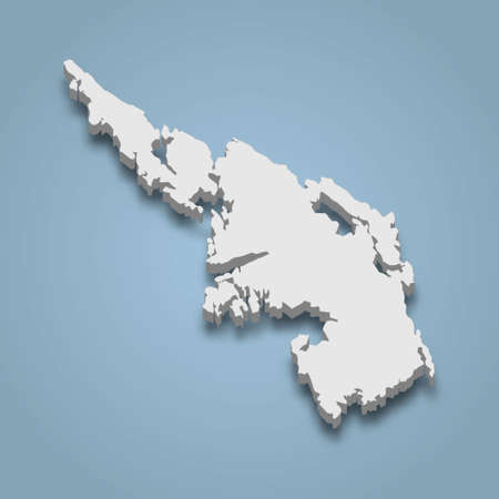 3d isometric map of Askoy is an island in Norway, isolated vector illustration
