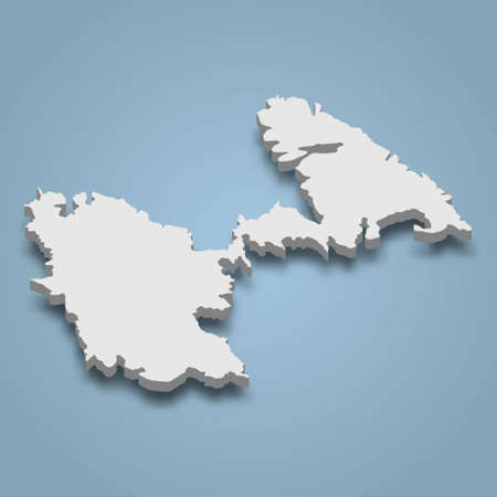 3d isometric map of Astypalea is an island in Dodecanese archipelago, Greece, isolated vector illustration