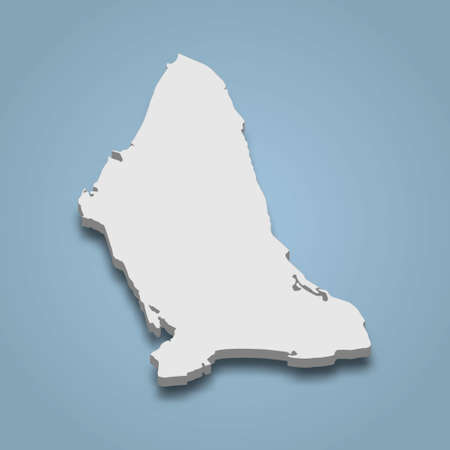 3d isometric map of Bantayan is an island in Philippines, isolated vector illustration