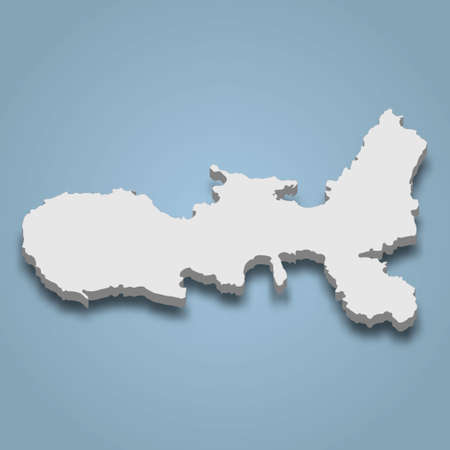 3d isometric map of Elba is an island in Italy, isolated vector illustration