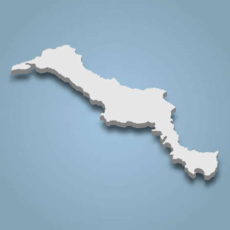 3d isometric map of Euboea is an island in Greece, isolated vector illustration Vectores