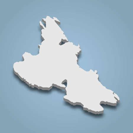 3d isometric map of Krk is an island in Croatia, isolated vector illustration Vektoros illusztráció
