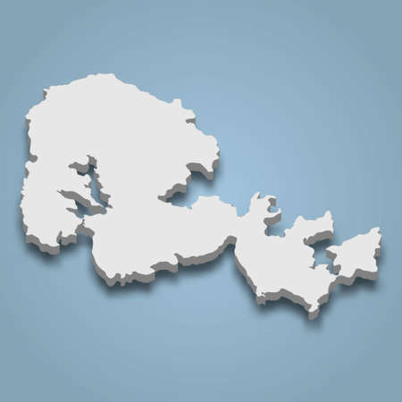 3d isometric map of Orkney Mainland is an island in Scotland, isolated vector illustration Ilustração Vetorial