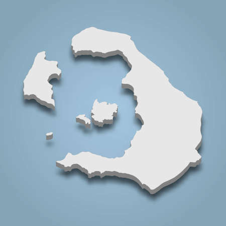 3d isometric map of Santorini is an island in Greece, isolated vector illustration