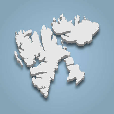 3d isometric map of Svalbard is an island in Norway, isolated vector illustration