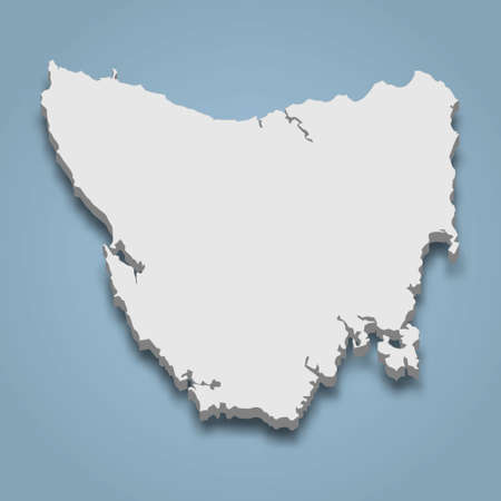 3d isometric map of Tasmania is an island in Australia, isolated vector illustration Ilustração