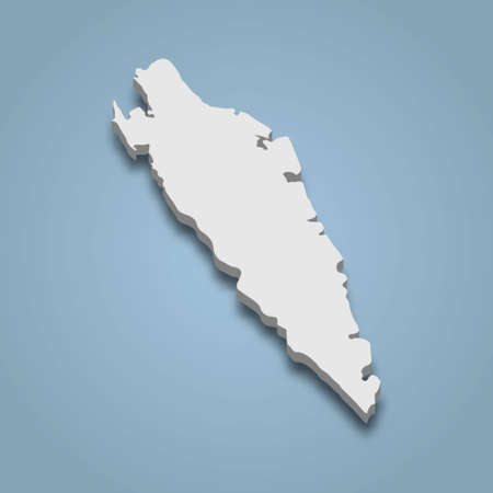 3d isometric map of Ticao is an island in Philippines, isolated vector illustration Ilustração