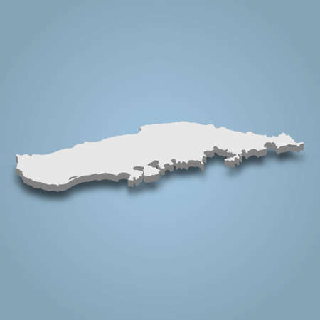 3d isometric map of Vieques is an island in Puerto Rico, isolated vector illustration Ilustração