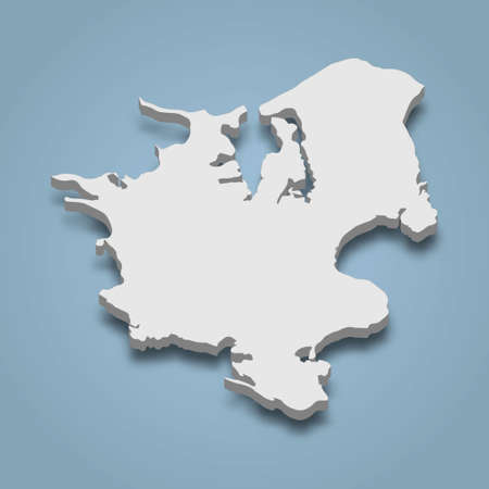 3d isometric map of Zealand is an island in Denmark, isolated vector illustration Ilustração