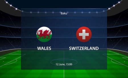 Wales vs Switzerland football scoreboard. Broadcast graphic soccer template