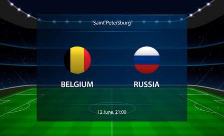 Belgium vs Russia football scoreboard. Broadcast graphic soccer