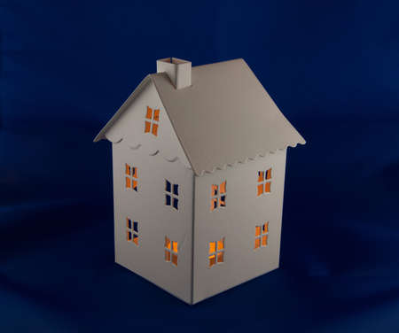 tinplate: tinplate house shaped tealight holder