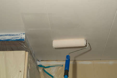 fillers: A man is painting the ceiling white with a paint roller. Stock Photo