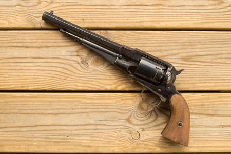 black powder: An vintage functional replica of an old black powder revolver.